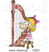 Cartoon Vector Clipart of a Cartoon Blond White Girl Playing a Harp by Toonaday