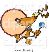 Cartoon Vector Clipart of a Cartoon Drummer Dog Marching by Toonaday