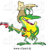 Cartoon Vector Clipart of a Cartoon Happy Hillbilly Guitarist Frog Wearing a Straw Hat by Toonaday