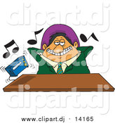 Cartoon Vector Clipart of a Cartoon Lazy Male Boss Listening to Loud Music by Toonaday