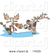 Cartoon Vector Clipart of a Cartoon Moose and Elk Playing Music in the Snow by Toonaday
