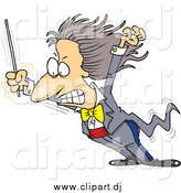 Cartoon Vector Clipart of a Cartoon Music Conductor Grimacing While Getting Blown over by Toonaday