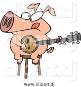 June 22nd, 2015: Cartoon Vector Clipart of a Cartoon Pig Playing a Banjo by Toonaday