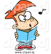 Cartoon Vector Clipart of a Cartoon Red Haired Choir Boy Singing by Toonaday