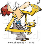 February 5th, 2016: Cartoon Vector Clipart of a Cartoon Red Haired White Man Playing a Bent Sousaphone by Toonaday
