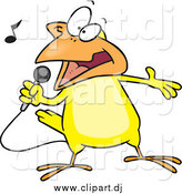 Cartoon Vector Clipart of a Cartoon Singing Yellow Canary by Toonaday
