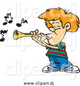 December 28th, 2014: Cartoon Vector Clipart of a Cartoon White Boy Playing a Clarinet by Toonaday