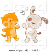 Cartoon Vector Clipart of a Cat and Dog Dancing Together by BNP Design Studio
