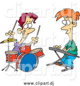 July 30th, 2014: Cartoon Vector Clipart of a Caucasian Boys Drumming and Keyboarding in a Band by Toonaday