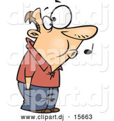 Cartoon Vector Clipart of a Caucasian Man Whistling While He Waits by Toonaday