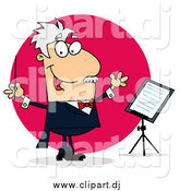 Cartoon Vector Clipart of a Caucasian White Cartoon Conducting Man by Hit Toon