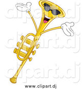 Cartoon Vector Clipart of a Cheering Trumpet Instrument Character by Yayayoyo