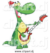 Cartoon Vector Clipart of a Christmas Dinosaur Playing Music on a Guitar by Hit Toon