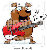 Cartoon Vector Clipart of a Chubby Brown Dog Guitarist by Cory Thoman
