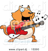 Cartoon Vector Clipart of a Chubby Ginger Cat Guitarist by Cory Thoman