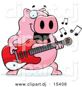 March 1st, 2016: Cartoon Vector Clipart of a Chubby Pig Guitarist Playing a Song by Cory Thoman