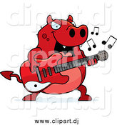 Cartoon Vector Clipart of a Chubby Red Devil Playing a Guitar by Cory Thoman