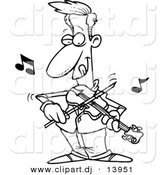 Cartoon Vector Clipart of a Confident Guy Playing Violin - Coloring Page Outline - Black and White by Toonaday