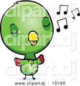 September 27th, 2015: Cartoon Vector Clipart of a Cute Green Baby Parrot Singing by Cory Thoman