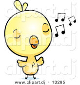 March 6th, 2016: Cartoon Vector Clipart of a Cute Yellow Chick Whistling by Cory Thoman