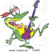 June 9th, 2016: Cartoon Vector Clipart of a Dancing Guitarist Frog by Toonaday