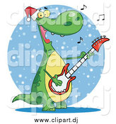 December 17th, 2014: Cartoon Vector Clipart of a Dinosaur Singing Christmas Songs and Playing a Guitar by Hit Toon