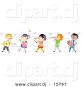 Cartoon Vector Clipart of a Diverse Line of Happy Children Playing Music in a Band by BNP Design Studio
