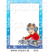 Cartoon Vector Clipart of a DJ Border Frame - Kid Mixing Music by Visekart