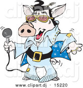 January 29th, 2016: Cartoon Vector Clipart of a Elvis Pig Dancing and Shaking by Dennis Holmes Designs
