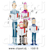 Cartoon Vector Clipart of a Family Singing Christmas Carols by BNP Design Studio