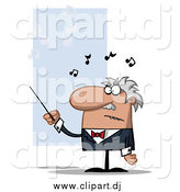 Cartoon Vector Clipart of a Frustrated Conductor Man Waving a Baton by Hit Toon
