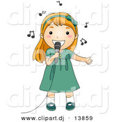 Cartoon Vector Clipart of a Girl Singing into a Microphone with Music Notes Floating Around Her Head by BNP Design Studio