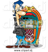 Cartoon Vector Clipart of a Greaser Dude by a Juke Box by Toonaday