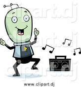 January 18th, 2015: Cartoon Vector Clipart of a Green Alien Dancing to Music by Cory Thoman
