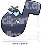 Cartoon Vector Clipart of a Grumpy Music Note by Cory Thoman