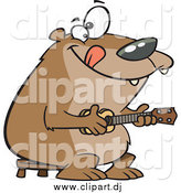 July 1st, 2015: Cartoon Vector Clipart of a Happy Bear Playing a Ukelele by Toonaday