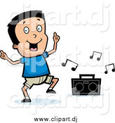 Cartoon Vector Clipart of a Happy Black Haired Boy Dancing to Music by Cory Thoman