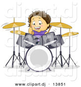 Cartoon Vector Clipart of a Happy Boy Playing Drums by BNP Design Studio