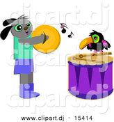 Cartoon Vector Clipart of a Happy Dog and Toucan Playing Cymbols and Drums by