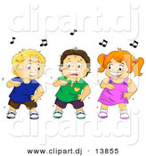 Cartoon Vector Clipart of a Happy Girl Dancing with Two Boys by BNP Design Studio