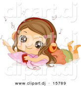 Cartoon Vector Clipart of a Happy Girl Listening to Music on a Mp3 Player by BNP Design Studio