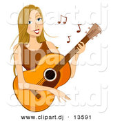 Cartoon Vector Clipart of a Happy Girl Playing Acoustic Guitar by BNP Design Studio