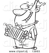 Cartoon Vector Clipart of a Happy Guy Playing Accordion - Coloring Page Outline - Black and White by Ron Leishman