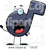 Cartoon Vector Clipart of a Happy Music Note Cartoon Character Waving by Cory Thoman