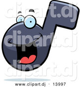 Cartoon Vector Clipart of a Happy Music Note Character and Shadow by Cory Thoman