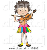 Cartoon Vector Clipart of a Happy White Brunette Girl Playing a Violin by Maria Bell