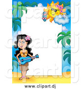 Cartoon Vector Clipart of a Hawaiian Girl Playing a Guitar Border Around Text Space by Visekart