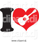 April 20th, 2015: Cartoon Vector Clipart of a I Heart Ukulele Design by Maria Bell