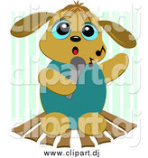 Cartoon Vector Clipart of a Karaoke Dog Singing Against Green Stripes by