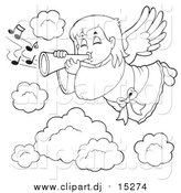 Cartoon Vector Clipart of a Lineart Angel Girl Playing a Trumpet in Heaven by Visekart